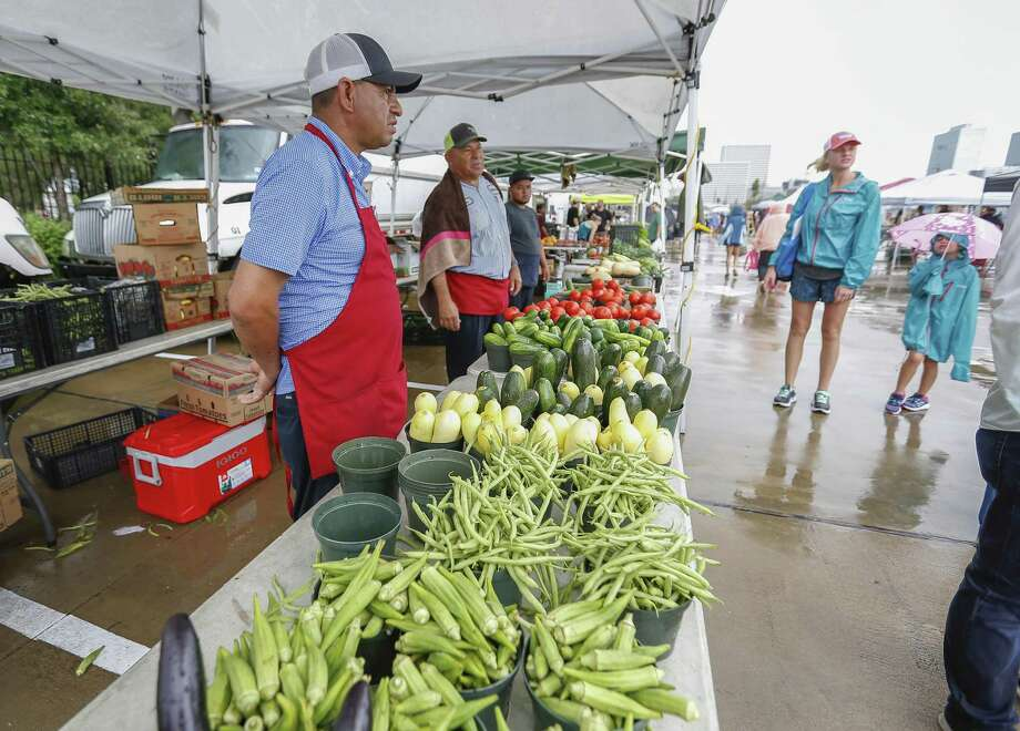 It rained on the first day of the new Urban Harvest Farmers Market which moved from its previous Eastside location to its new home at St. John's School (Westheimer and Buffalo Speedway) on Sept. 22. Photo: Steve Gonzales, Houston Chronicle / Staff Photographer / © 2018 Houston Chronicle
