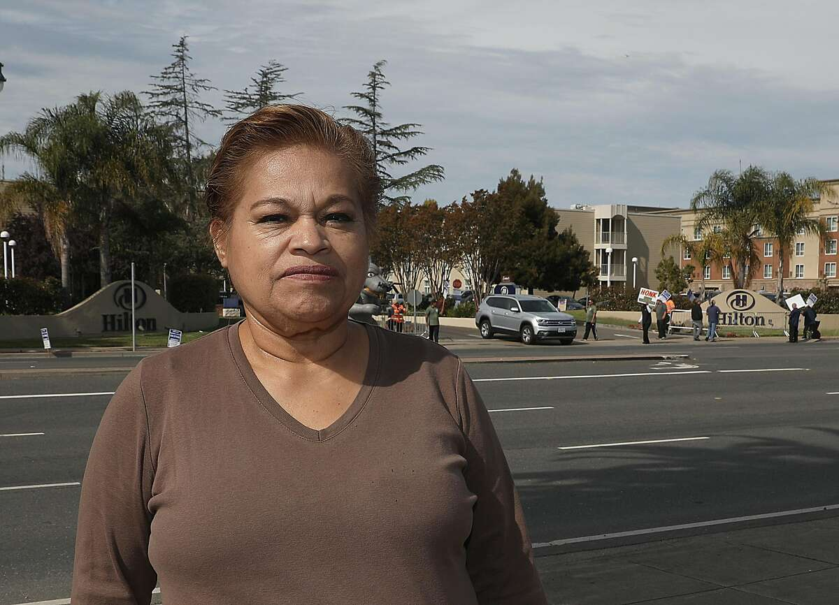 Hotel housekeeper Blanca Smith talks of the frequency of sexual harassment and assault which tends to be ignored on Tuesday, Oct. 23, 2018 in Oakland, Calif.