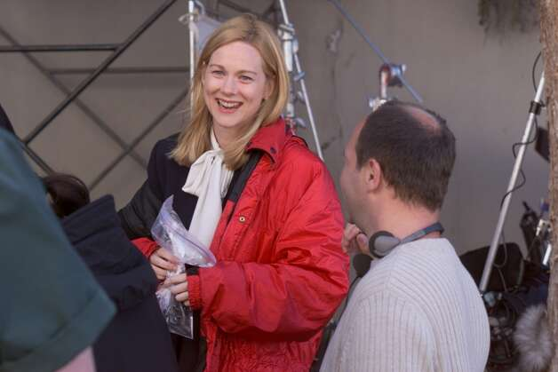 "Director Pierre Gang and actress Laura Linney at work filming the third serial based on Armistead Maupin's ""Tales of the City"" is doing location filming in SF. Photo: JERRY TELFER/SFC"