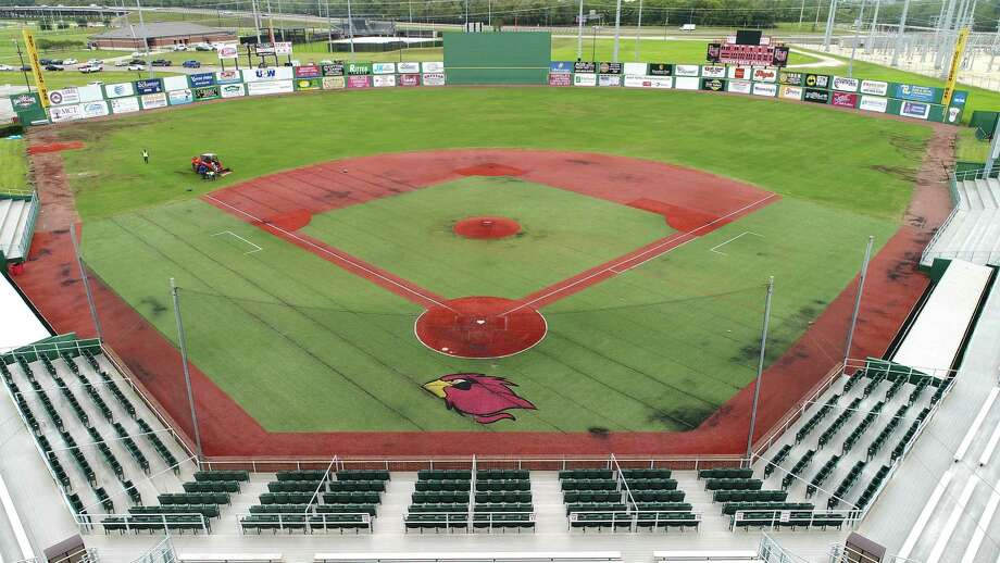 Workers begin deconstructing Lamar's baseball field Wednesday to ready the area for new turf. The new field is expected to be complete by the Cardinal's first game in February.   Photo taken Wednesday, 10/24/18 Photo: Drone Image: Guiseppe Barranco/The Enterprise, Photo Editor / Guiseppe Barranco ©
