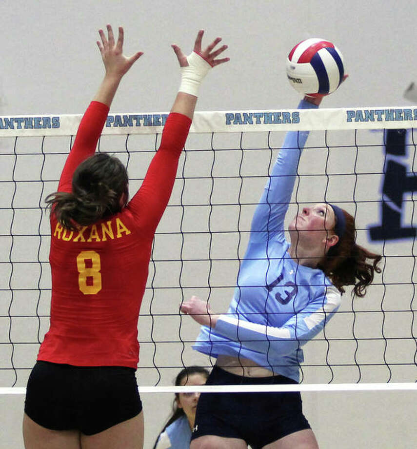 The Panthers were only seeking an opportunity and they earned that Tuesday night with a 25-19, 25-23 victory over the Roxana Shells in the semifinals of the Jersey Class 3A Regional at Havens Gym. Photo: Greg Shashack | The Telegraph