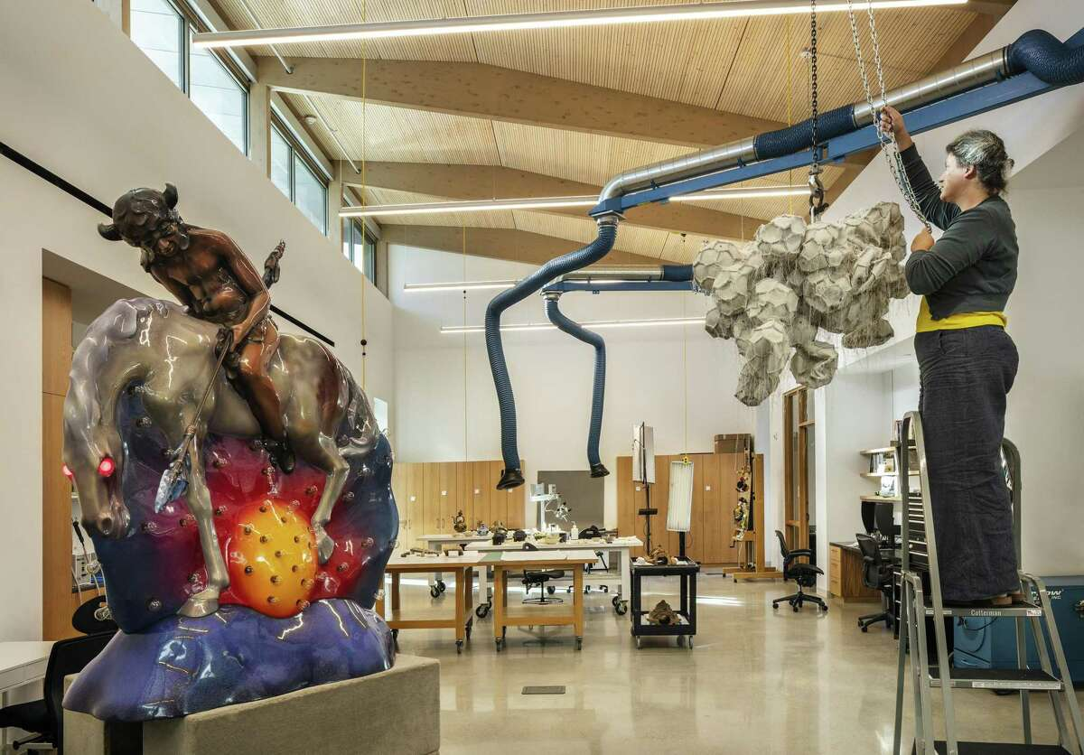 Vents that extract chemical fumes are built into the studios of the new Sarah Campbell Blaffer Foundation Center for Conservation, including a sculpture studio.