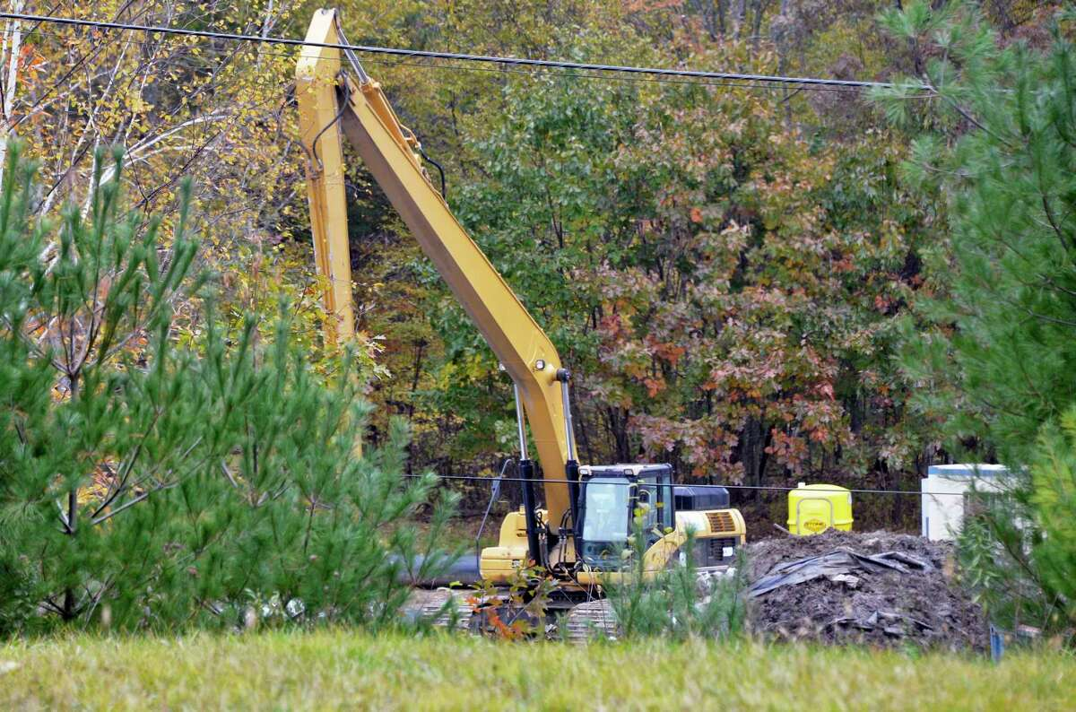 Crews work at the Dewey Loeffel Landfill Superfund Site Wednesday Oct. 24, 2018 in Nassau, NY. The Nassau Town Board named the tributary after a Anti-Rent Wars figure Little Thunder as a way to call attention to the creek and reclaim it. (John Carl D'Annibale/Times Union)