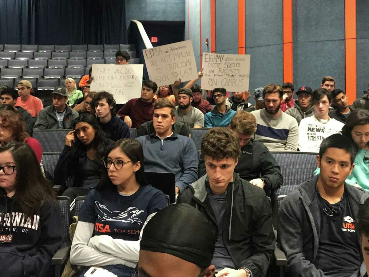Students at a UTSA forum on free expression include some who were critical of the university's handling of hate speech incidents.