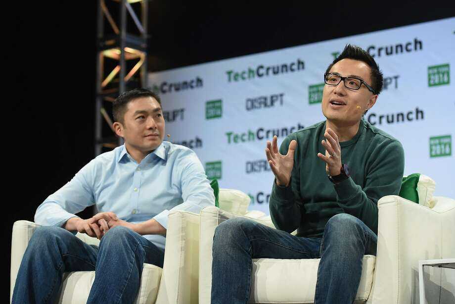 NEW YORK, NY - MAY 11: Alfred Lin of Sequoia Capital and co-founder and CEO of DoorDash Tony Xu speak onstage during TechCrunch Disrupt NY 2016 at Brooklyn Cruise Terminal on May 11, 2016 in New York City.  (Photo by Noam Galai/Getty Images for TechCrunch) Photo: Noam Galai / Getty Images For TechCrunch 2016