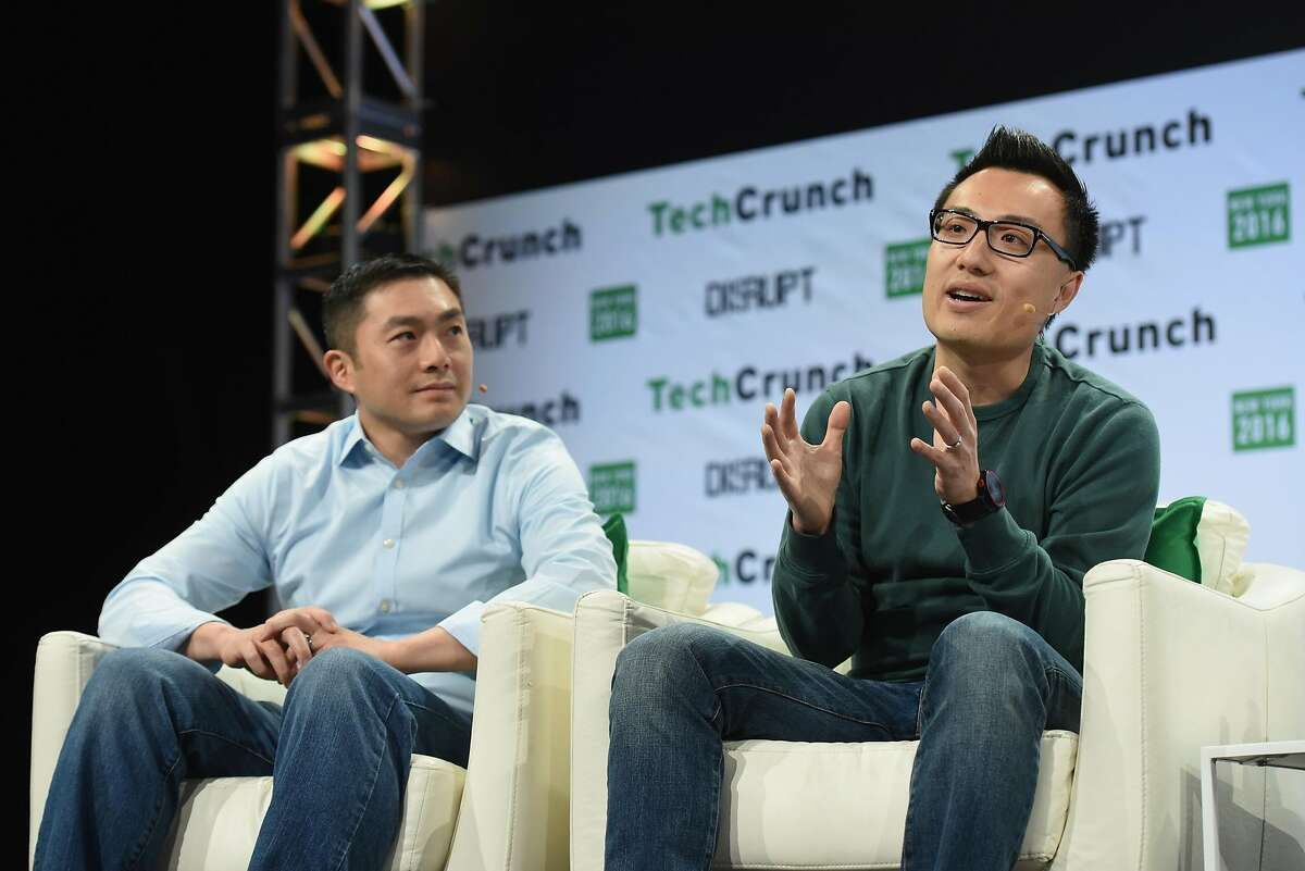 NEW YORK, NY - MAY 11: Alfred Lin of Sequoia Capital and co-founder and CEO of DoorDash Tony Xu speak onstage during TechCrunch Disrupt NY 2016 at Brooklyn Cruise Terminal on May 11, 2016 in New York City. (Photo by Noam Galai/Getty Images for TechCrunch)