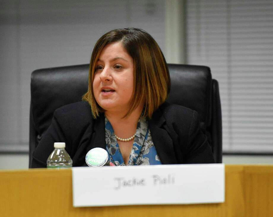 Board of Education candidate Jackie Pioli (D) delivers her opening remarks during the Angela Lorenti Memorial 2018 Board of Education Candidates Forum at the Stamford Government Center on Wednesday, Oct. 24, 2018 in Stamford, Connecticut. The Parent-Teacher Council of Stamford hosted the event where candidates running for BOE  stating their positions and responded to questions presented by the PTC. Photo: Matthew Brown, Hearst Connecticut Media / Stamford Advocate