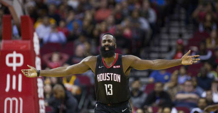 3b33eb6e8df Houston Rockets guard James Harden (13) reacts to the lack of a foul call