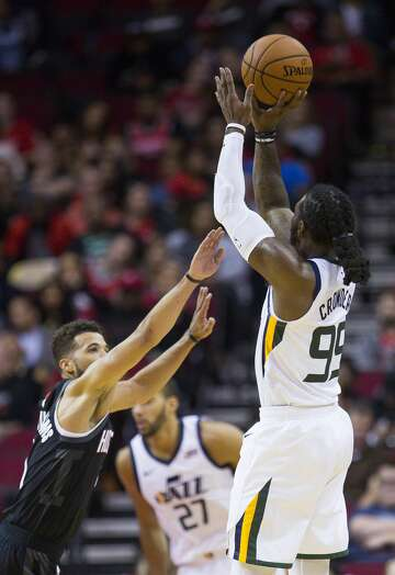 0419df9d7023 3of66Utah Jazz forward Jae Crowder (99) shoots over Houston Rockets guard  Michael Carter-Williams (1) during the second half of an NBA basketball  game ...