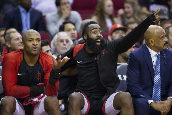 938d9edf3fb5 2of66Houston Rockets forward PJ Tucker (17) and guard James Harden (13)  react from the bench during the second half of an NBA basketball game  between the ...