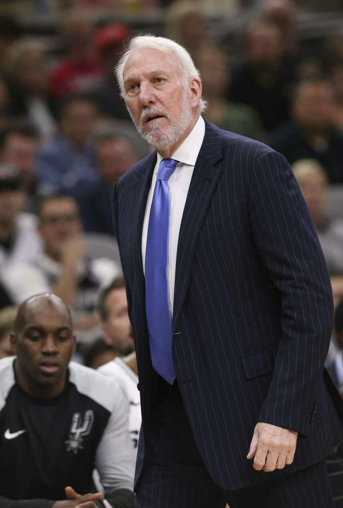 San Antonio Spurs?' head coach Gregg Popovich sported a Beto cap during practice on Nov. 2, 2018.
