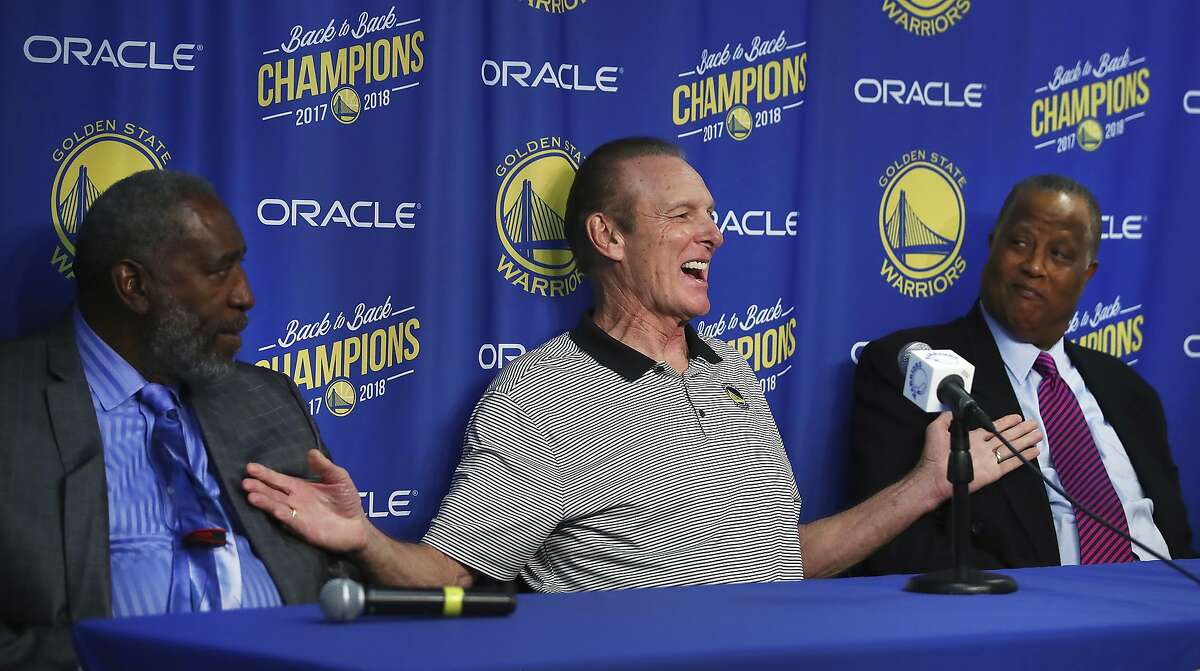 Rick Barry (center), joined by former teammates Clifford Ray (right) and Jamaal Wilkes, appears at a media conference celebrating the 1975 Warriors NBA Championship Team on Oct. 24, 2018, in Oakland.