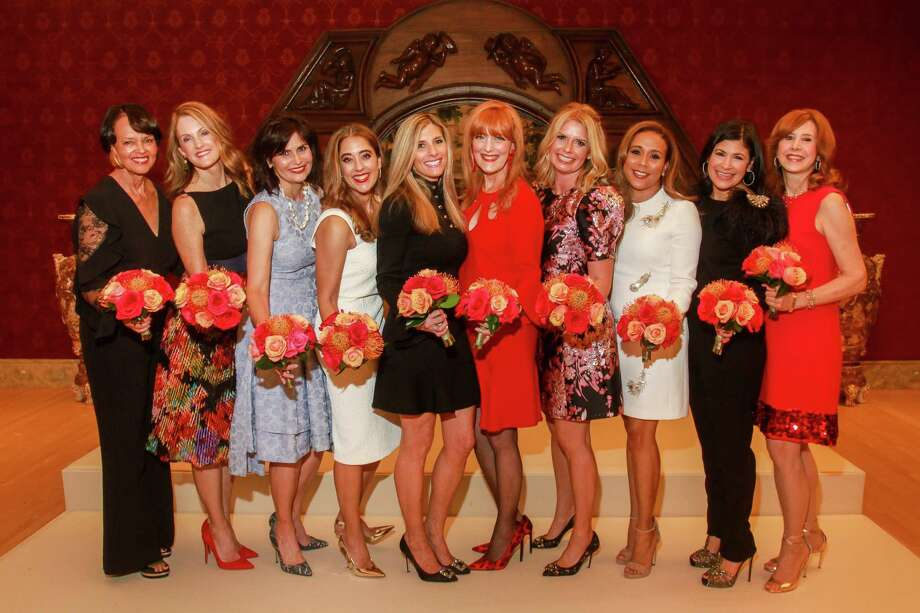 Best Dressed Honorees Gayla Gardner, from left, Stephanie Tsuru, Denise Castillo-Rhodes, Kristina Somerville, Gina Bhatia, Gracie Cavnar, Valerie Dieterich, Heidi Smith, Kristy Bradshaw and Vicki West at the Best Dressed announcement party. Photo: Gary Fountain, Contributor / © 2018 Gary Fountain