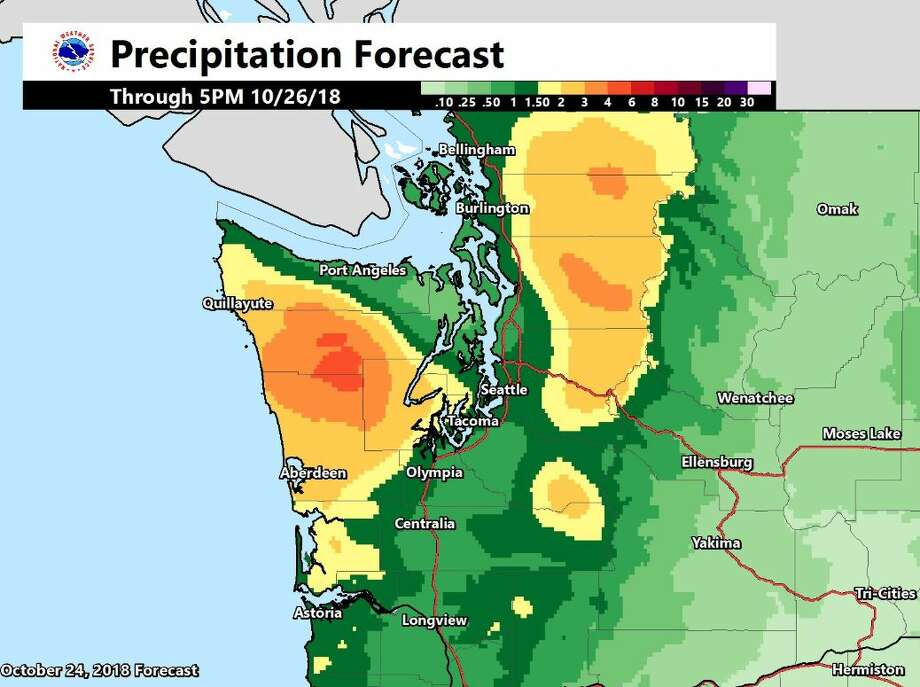 The National Weather Service predicts rain in most areas of Washington, with mountain areas expected to get up to 4 inches of rain. Photo: Courtesy NWS