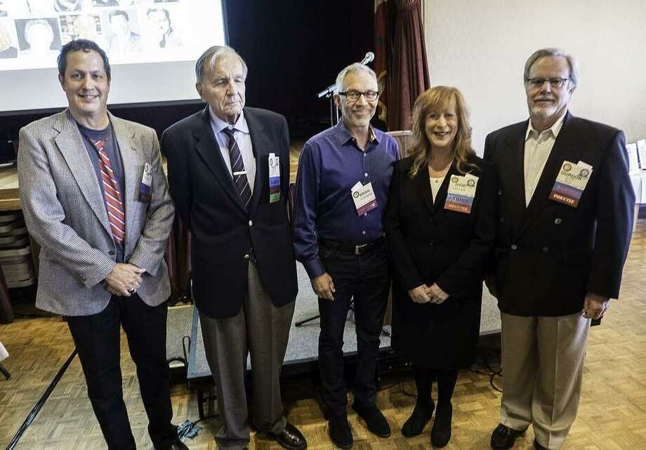 Honorees at the 2018 Bay Area Radio Hall of Fame ceremonies included (from left) Jon Bristow, Fred Krock, Brian Sussman, Jude Heller and Gordon Zlot. Photo: Mike Adams