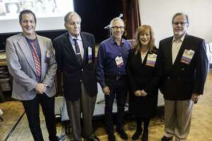 Honorees at the 2018 Bay Area Radio Hall of Fame ceremonies included (from left) Jon Bristow, Fred Krock, Brian Sussman, Jude Heller and Gordon Zlot.
