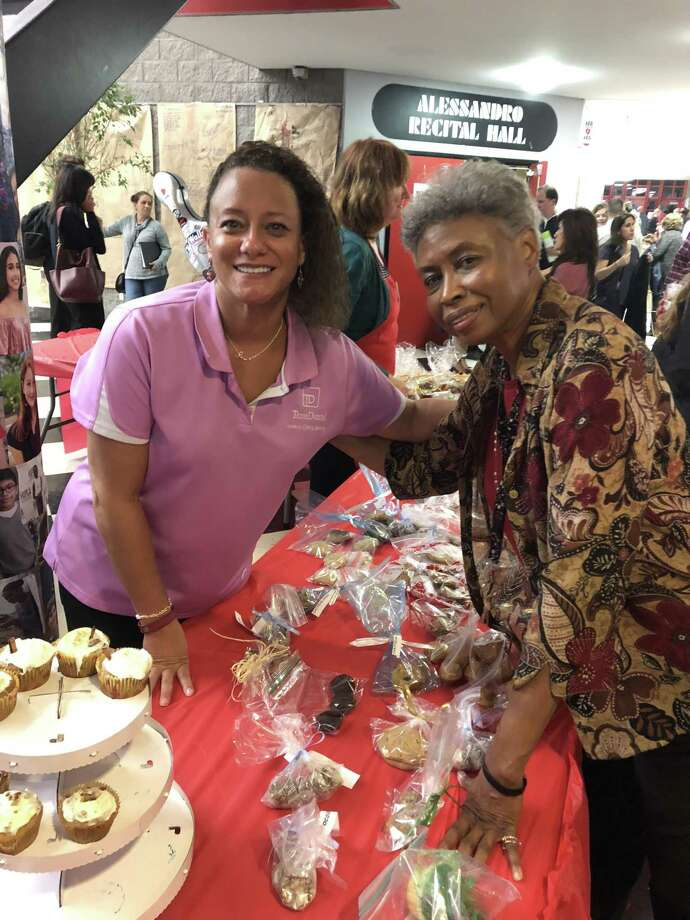 The 47th annual Spaghetti Supper benefiting Kinder HSPVAs Instrumental and Vocal Music Departments is spearheaded by longtime Vocal Music Department teacher Pat Bonner. Pictured here are Dr. Tracy Petry and Pat Bonner at the Oct. 18, 2018, event. Photo: Photo Courtesy Of HSPVA Friends / Photo Courtesy Of HSPVA Friends