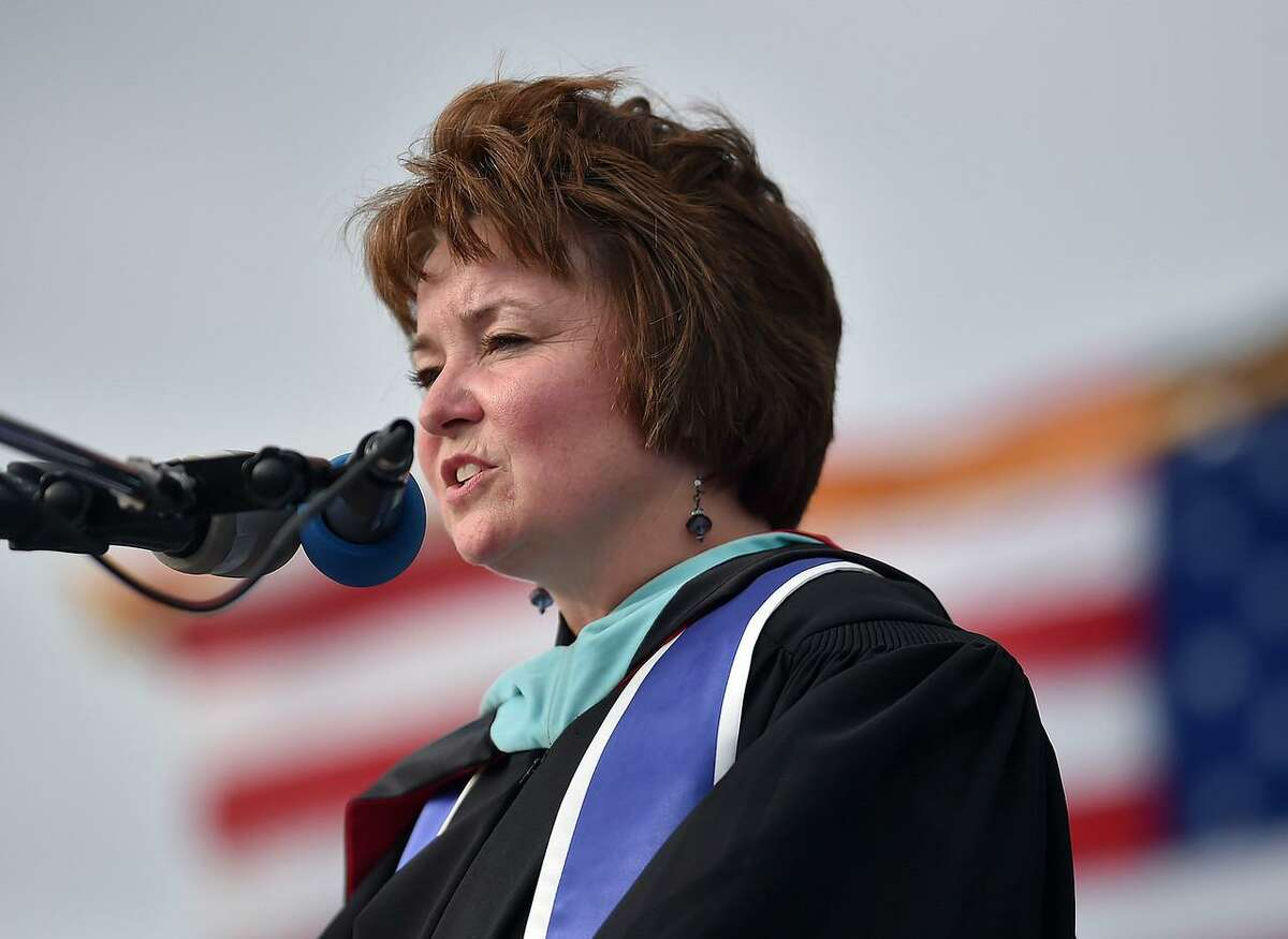 File photo - West Haven High School Principal Pamela Bellmore Gardner speaking at 2017 graduation. Gardner died Thursday, Oct. 25, 2018 after a 16-month battle with a rare form of cancer, neuro-endocrine tumors in her stomach.