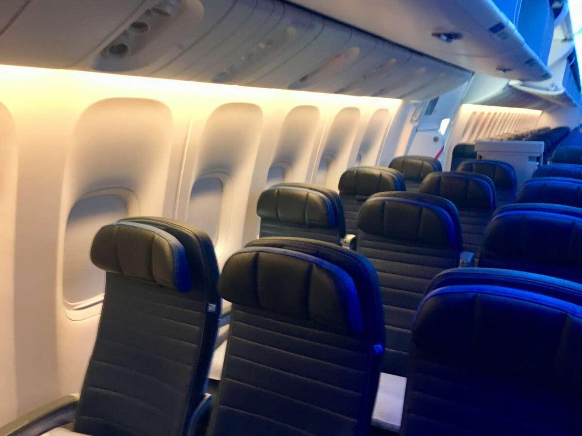 This is the economy cabin on United's Boeing 777-300ER jets.