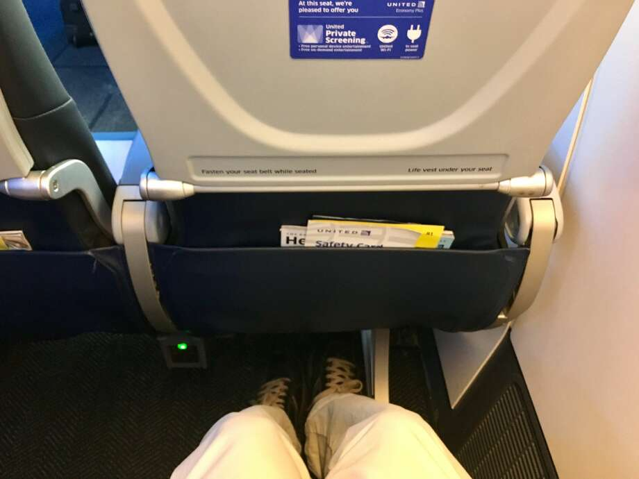 Legroom in Economy Plus on United's Boeing 777-300ER jets is not bad for someone who's a few inches shy of 6-feet. Photo: Tim Jue