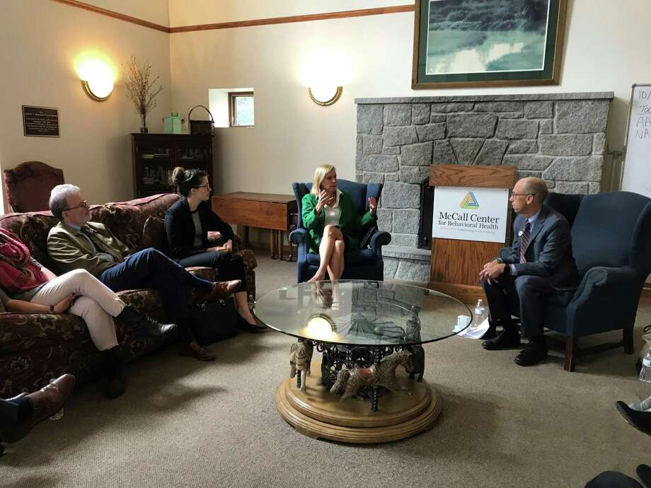 Gubernatorial and lieutenant governor candidates Oz Griebel and Monte Frank, along with legislative candidate Maria Horn, visited the McCall Center in Torrington to discuss the opioid crisis. Photo: Contributed Photo /
