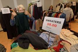 Sarah Sakissian shops at The Westport Womans Club annual Clothing Tag Sale Friday, October 19, 2018, at the club, 44 Imperial Ave., in Westport, Conn. The sale features new and gently used womens, mens and childrens clothing and accessories. Proceeds support student scholarships and local charities. The sale continues Sunday from noon until 3pm.