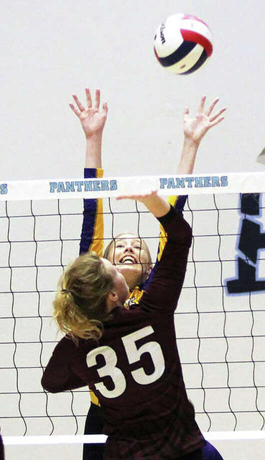 The Panthers were only seeking an opportunity and they earned that Tuesday night with a 25-19, 25-23 victory over the Roxana Shells in the semifinals of the Jersey Class 3A Regional at Havens Gym. Photo: Greg Shashack | Hearst Illinois