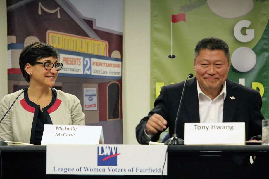 Democrat Michelle Lapine McCabe, and incumbent state Rep. Tony Hwang, R-28, field questions at a League of Women Voters forum Wednesday night. Photo: Genevieve Reilly / Hearst Connecticut Media / Fairfield Citizen