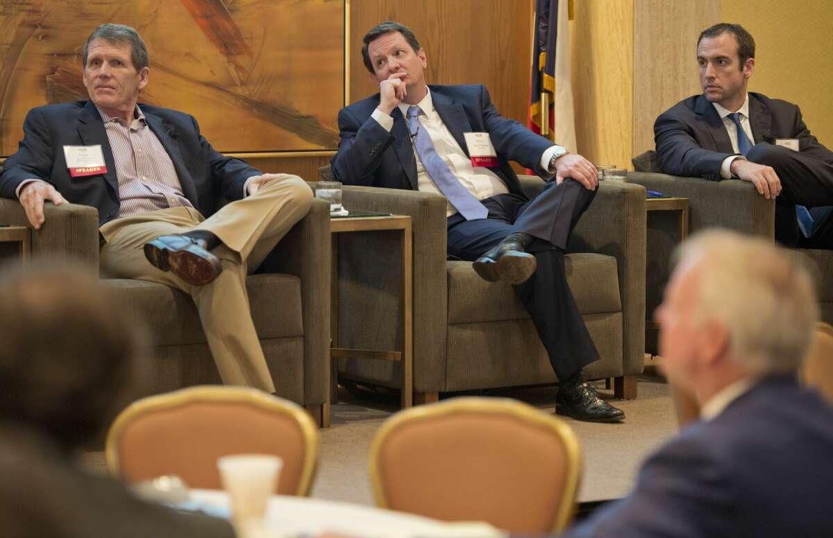 The infrastructure panel 10/25/18 at the 2018 Permian Basin Petroleum Association meeting includes Scott Potter, Matt Teegarden and Corey Prologo. Tim Fischer/Reporter-Telegram