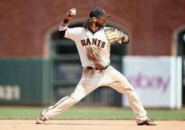 SAN FRANCISCO, CA - JUNE 06:  Brandon Crawford #35 of the San Francisco Giants plays shortstop against the Arizona Diamondbacks at AT&T Park on June 6, 2018 in San Francisco, California.  ~~