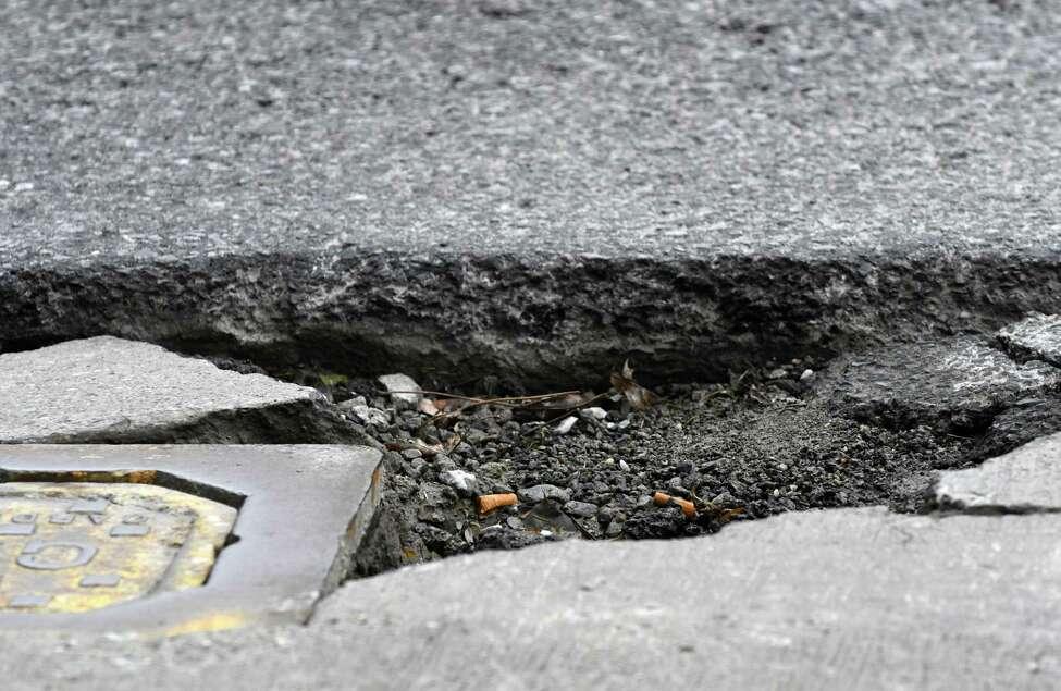 A Capital Region pothole. (Will Waldron/Times Union)