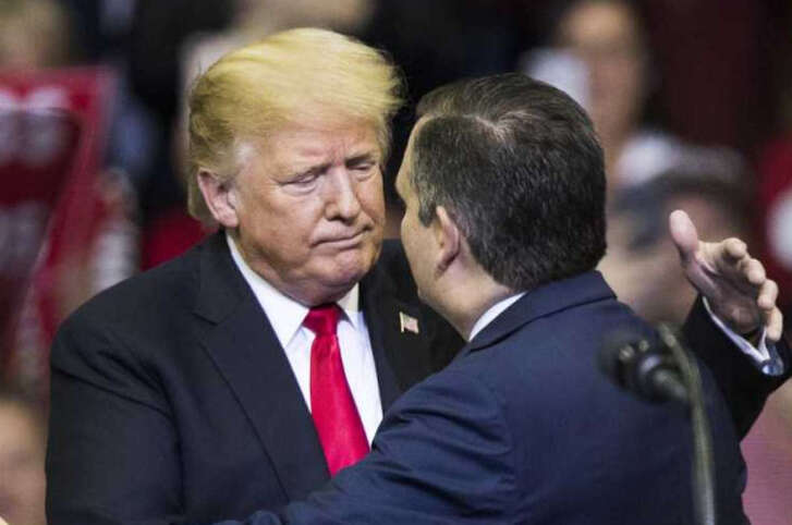 President Donald Trump, rallying Houston voters on Oct. 22, 2018 for Texas Sen. Ted Cruz and other Republicans, also made claims about Democratic Senate nominee Beto O'Rourke (HOUSTON CHRONICLE, Marie D. De Jesús).