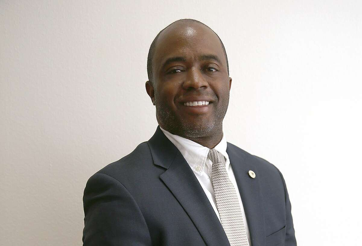 Tony Thurmond, candidate for Superintendent of Public Instruction, comes to speak at the San Francisco Chronicle on Thursday, March 22, 2018, in San Francisco, Calif.