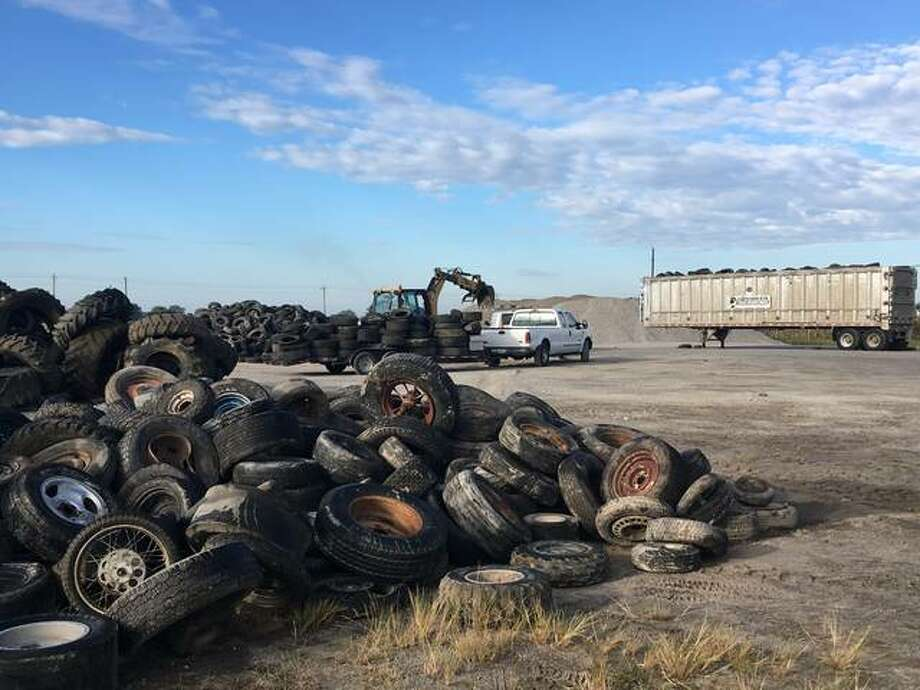 Used tires collected from local governments in September. Townships and municipalities delivered 84 truckloads, totaling more than 7,000 tires. Photo: For The Telegraph