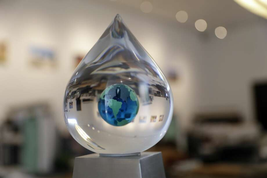 The XPrize trophy is seen at The Skysource/Skywater Alliance offices Wednesday, Oct. 24, 2018, in Los Angeles. The company received the $1.5 million XPrize For Water Abundance for developing the Skywater 300, a machine that makes water from air. Photo: Marcio Jose Sanchez/AP