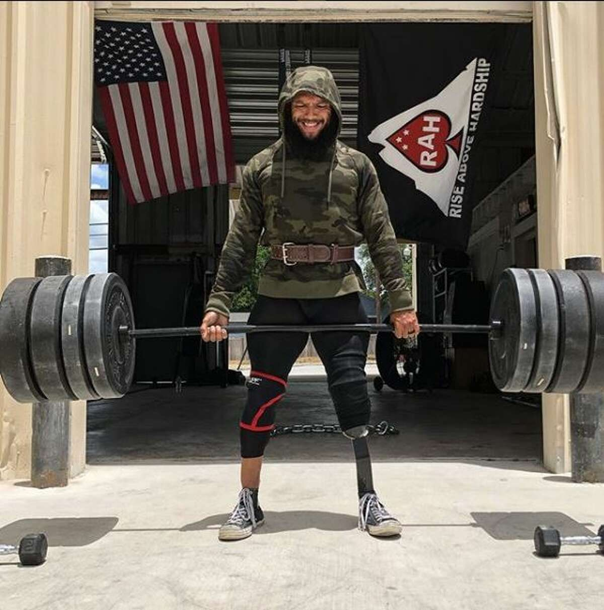 Jose Luis Sanchez uses his gym - and his Instagram account - to inspire others after recovering from losing a leg in Afghanistan.