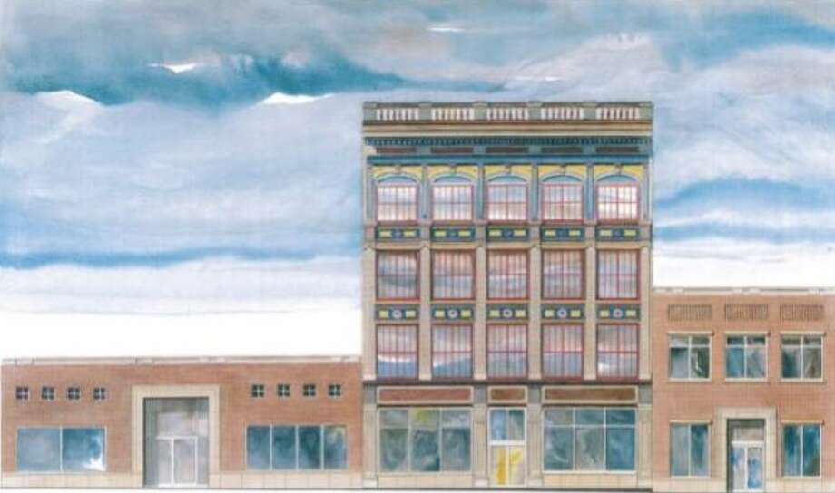 Buildings at 132 and 136 Broadway in Schenectady, N.Y., with architect's rendering of what they'll look like when repaired. Photo: Stracher Roth Gilmore