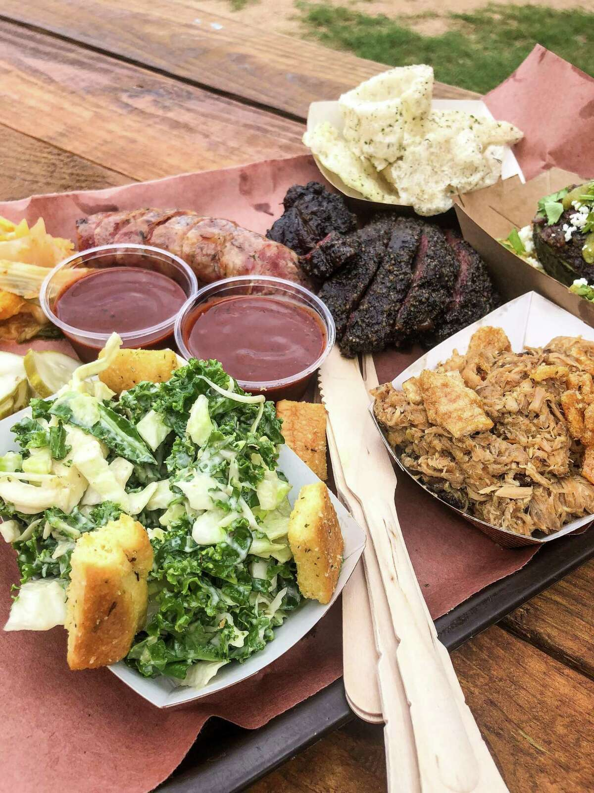 Barbecue tray at LeRoy and Lewis with beef cheeks in the middle.