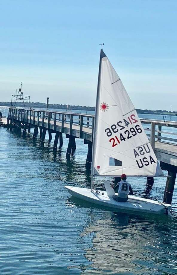 Brunswick School sophomore Leyton Borcherding will compete in the Interscholastic Sailing Association Singlehanded Championships this weekend in Macatawa, Michigan. Photo: Contributed Photo / Greenwich Time Contributed