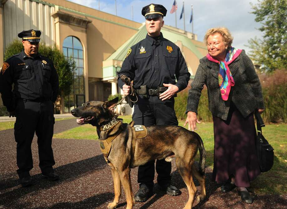 Bridgeport Police Sgt. Erick Norton introduces the department's new explosive detection canine, Dennis, outside the Margaret Morton Government Center in Bridgeport, Conn. on Tuesday, October 23, 2018. At right is B.Joan Hickey, of Guilford, whose family paid for the dog's acquisition. Hickey's husband, Dennis, for whom the dog is named, was the owner of Bridgeport-based business Sonitrol Security Systems. Photo: Brian A. Pounds / Hearst Connecticut Media / Connecticut Post