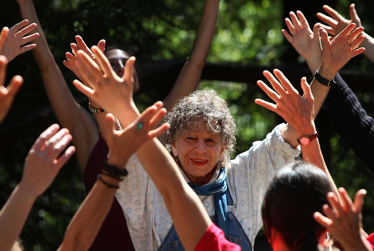 Anna Halprin with students in at her home in Kentfield in 2010.