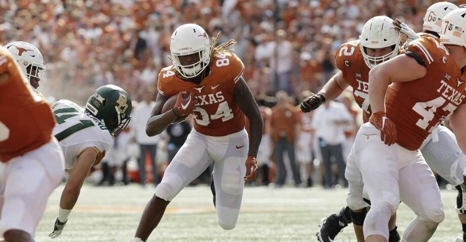 Texas wide receiver Lil'Jordan Humphrey (84) runs for a touchdown against Baylor during the first half on an NCAA college football game, Saturday, Oct. 13, 2018, in Austin, Texas. (AP Photo/Eric Gay) Photo: Eric Gay/Associated Press