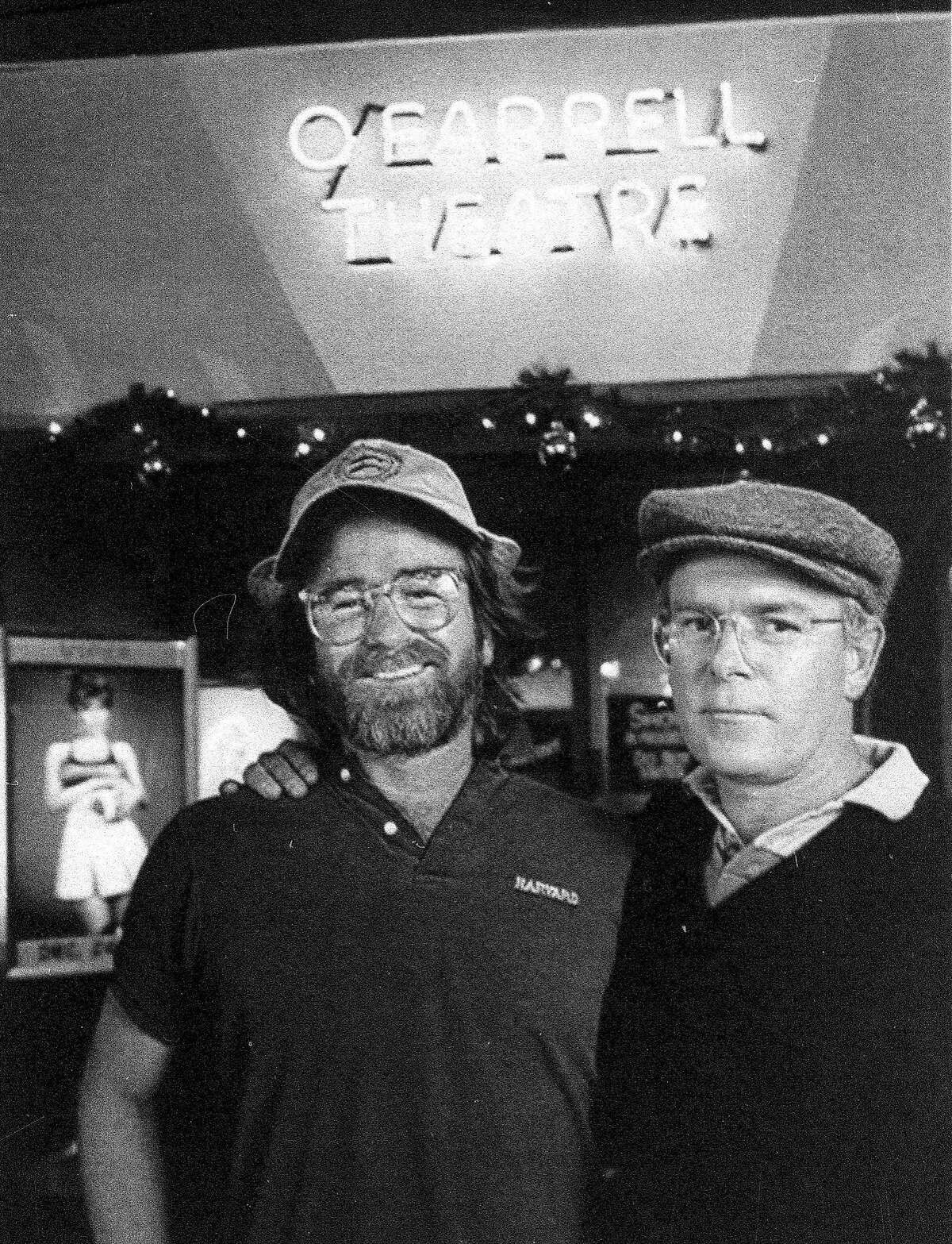 **FILE** Artie Mitchell, left, and his brother Jim Mitchell pose for a photograph in this file photo taken at the O'Farrell theater in San Francisco, Dec. 1989. Jim Mitchell, the pioneering pornographer who was convicted of killing his brother Artie with whom he built the Mitchell Brothers skin flick empire, died Thursday, July 12, 2007, at age 63, according to the Sonoma County coroner. (AP Photo) Ran on: 07-21-2007 Artie (top left) and Jim Mitchell at the Mitchell Brothers OFarrell Theatre in December 1989. Jim shot Artie to death in 1991, and Jim died of a heart attack last week.