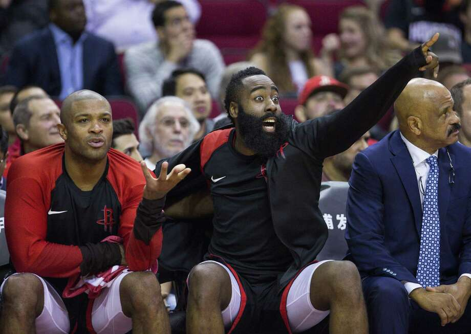 PHOTOS: 2018-19 Rockets by the numbers Houston Rockets forward PJ Tucker (17) and guard James Harden (13) react from the bench during the second half of an NBA basketball game between the Houston Rockets and Utah Jazz, Wednesday, Oct. 24, 2018 in Houston. >>>Browse through the photos for a closer look at the Rockets' 2018-19 season ... Photo: Mark Mulligan, Houston Chronicle / Staff Photographer / © 2018 Mark Mulligan / Houston Chronicle