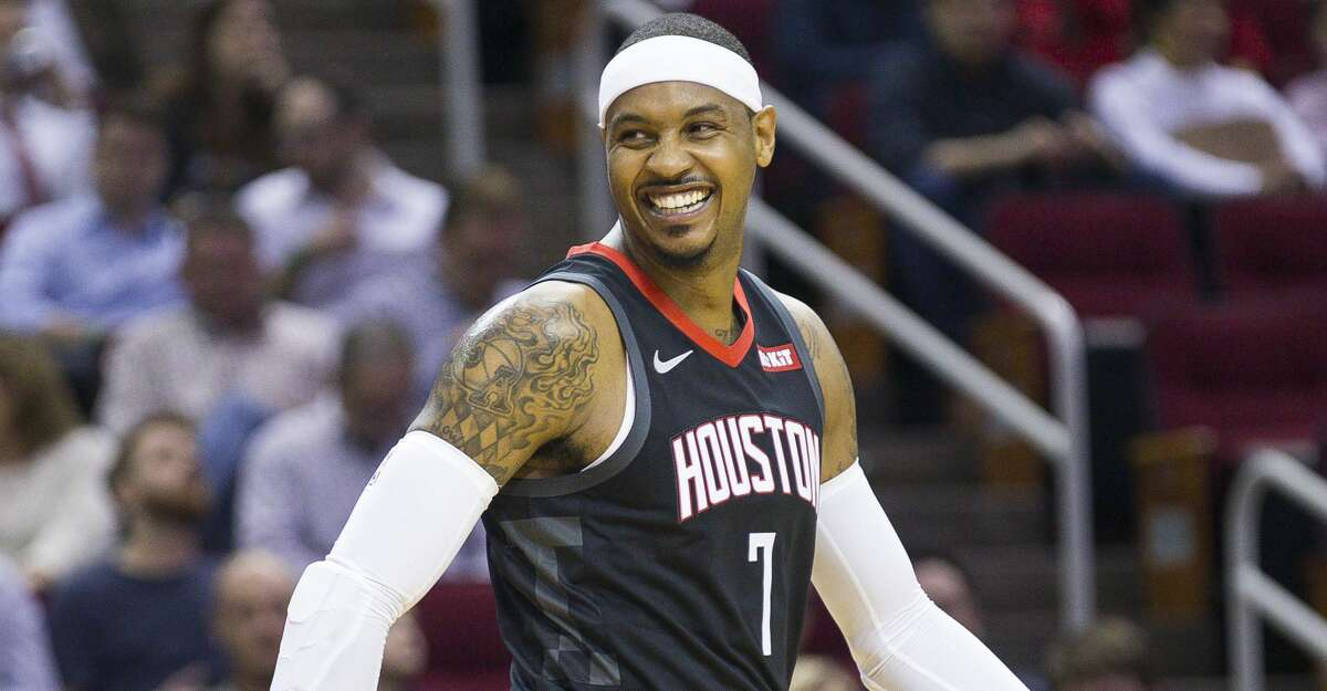 PHOTOS: Things to know about Carmelo Anthony Houston Rockets forward Carmelo Anthony (7) reacts after trying to grab a rebound that ended up out of bounds during the first half of an NBA basketball game between the Houston Rockets and Utah Jazz, Wednesday, Oct. 24, 2018 in Houston. >>>Browse through the photos to know more about Carmelo Anthony ...