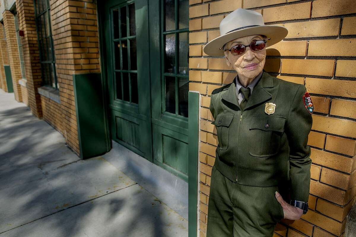 Betty Reid Soskin stands for a portrait outside the Rosie the Riveter/World War II Home Front National Historical Park on Tuesday, Sept. 25, 2018, in Richmond, Calif. Reid Soskin, 97, is a ranger with the National Park Service. She's the oldest active park ranger and has worked at the Richmond park since 2004.