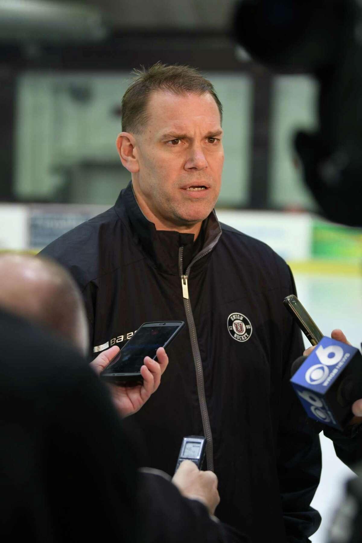 Union College men's hockey head coach Rick Bennett talks to reporters on media day Tuesday, Oct. 2, 2018 in Schenectady, N.Y. (Lori Van Buren/Times Union)