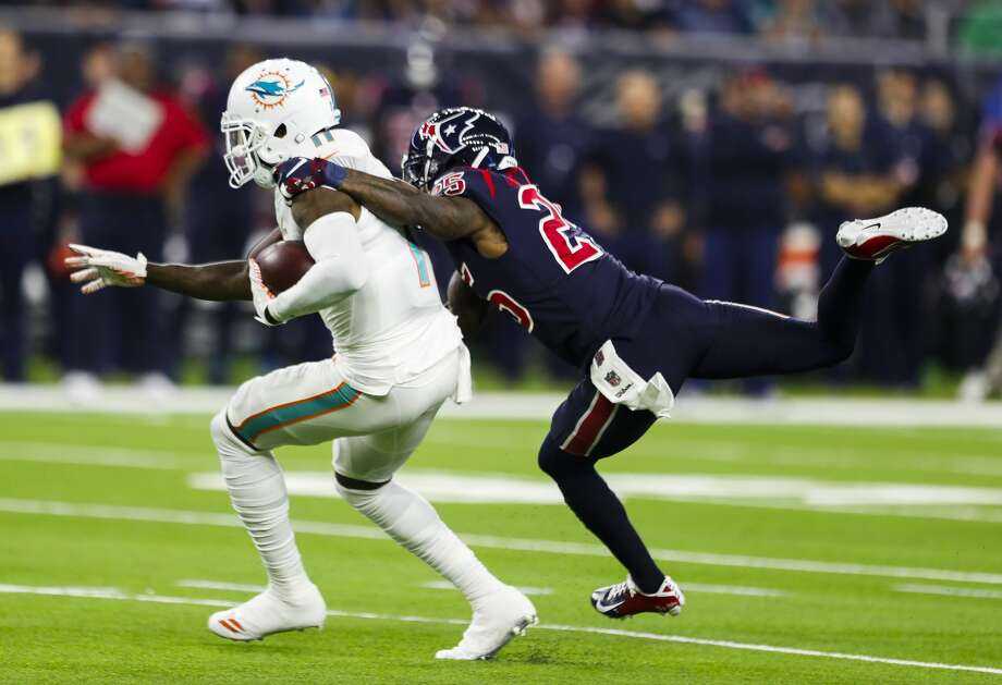 PHOTOS: John McClain's 2018 Week 9 predictions  Houston Texans strong safety Kareem Jackson (25) tackles Miami Dolphins wide receiver DeVante Parker (11) during the first quarter of an NFL football game at NRG Stadium on Thursday, Oct. 25, 2018, in Houston. >>>See The General's picks for Week 9 of NFL action ...  Photo: Brett Coomer/Staff Photographer
