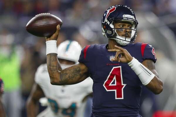 Houston Texans quarterback Deshaun Watson (4) passes during the first quarter of an NFL football game at NRG Stadium on Thursday, Oct. 25, 2018, in Houston.