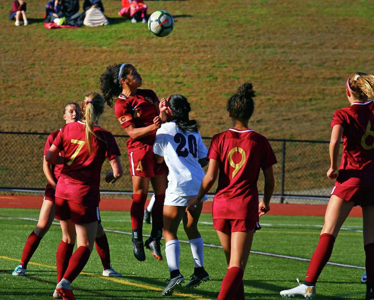 Girls high school soccer action between St. Joseph and Brien McMahon in Trumbull, Conn., on Thursday Oct. 25, 2018.